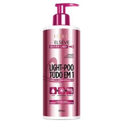 Imagem 1 do produto Creme de Limpeza Inteligente Elseve Light-Poo Quera-Liso 400ml