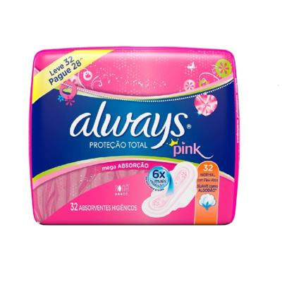 Absorvente Always Pink Abas 32 Unidades
