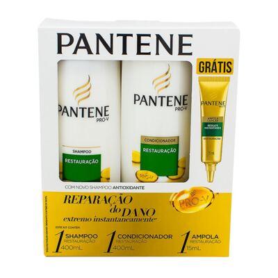 Kit Pantene Restauração Shampoo 400ml + Condicionador 200ml + Ampola de Tratamento 15ml