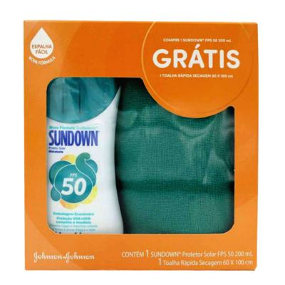 Kit Sundown Protetor Solar FPS50 200ml Grátis Toalha Dry