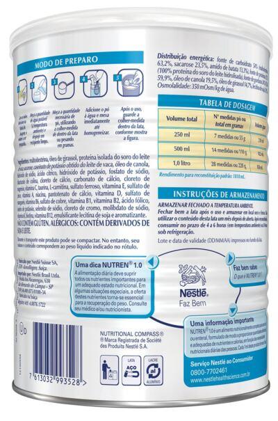 Imagem 3 do produto Suplemento Alimentar Nestlé Nutren 1.0 Baunilha 400g