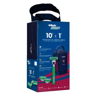 Imagem 2 do produto Kit Gillette Aparelho de Barbear Mach 3 Sensitive + Carga - 2 Unidades + Porta Chuteira