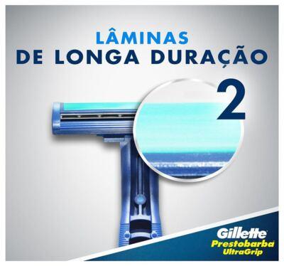 Imagem 2 do produto Aparelho de Barbear Gillette Prestobarba Ultragrip - 2 Unidades