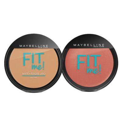 Imagem 1 do produto Fit Me! Pó Compacto + Blush Peles Médias Maybelline - Kit