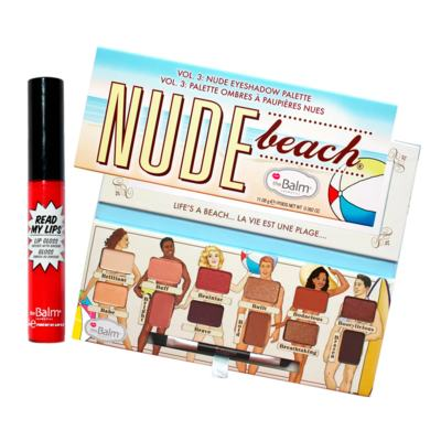 The Balm Nude Beach + Read My Lips Hubba Hubba Kit - Paleta de Sombra + Gloss Labial - Kit