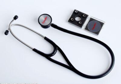 Kit Esteto Cardiológico Preto com Aparelho de Pressão Azul Premium