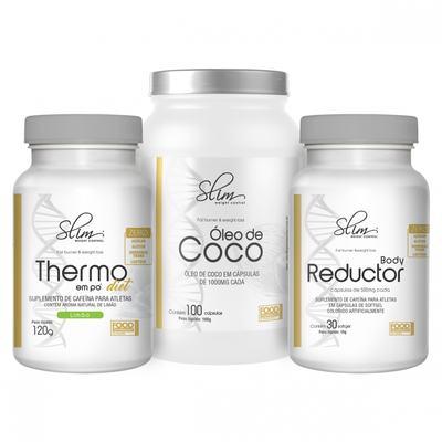 Imagem 1 do produto Combo Slim Óleo de Coco 100 caps + 01 Body Reductor 30 softgel + 01 Thermo em pó diet 120 g - Slim. -