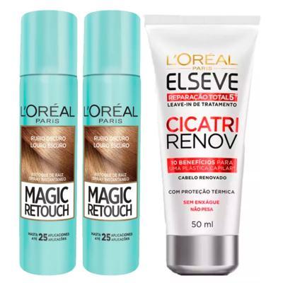 L'Oréal Paris Magic Retouch + Ganhe Cicatri Renov Kit - Leave-In + 2 Corretivos Capilar Louro Escuro - Kit