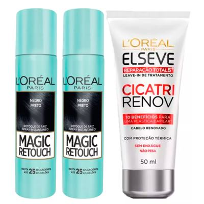 L'Oréal Paris Magic Retouch + Ganhe Cicatri Renov Kit - Leave-In + 2 Corretivos Capilar Preto - Kit