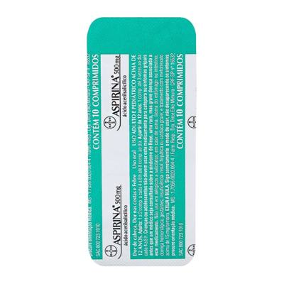 Imagem 1 do produto Aspirina AD 500mg 10 comprimidos