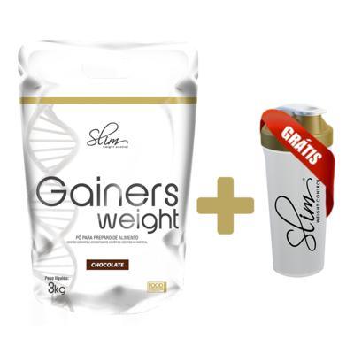 Imagem 3 do produto Gainers Weight Refil 3k - Slim - Chocolate Grátis uma Coqueteleira. -