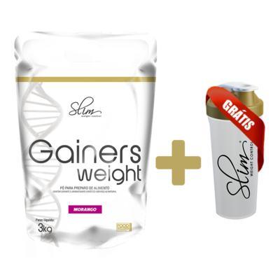 Imagem 3 do produto Gainers Weight Refil 3k - Slim - Morango Gratis uma Coqueteleira. -