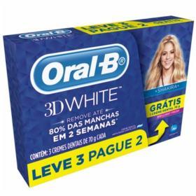Creme Dental Oral-B 3D White - Brilliant Fresh | 3x70g | Leve 3 Pague 2