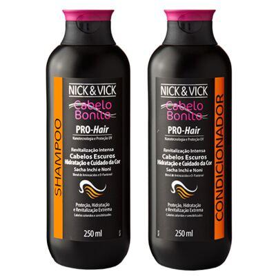Kit Shampoo + Condicionador Nick & Vick Pro-Hair Revitalização Intensa Cabelos Escuros - Kit