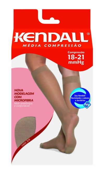Imagem 1 do produto Meia Panturrilha 18-21 mmHg Média Kendall - CASTANHO PONTEIRA FECHADA GG