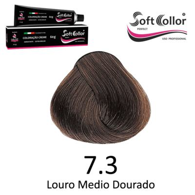 Coloracao Profissional SOFTCOLLOR PERFECT 60g - Cores: Louro Médio - Nuance 7.3 Louro Medio Dourado