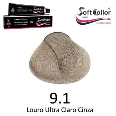 Coloracao Profissional SOFTCOLLOR PERFECT 60g - Cores: Louro Ultra Claro - Nuance 9.1 Louro Ultra Claro Cinza