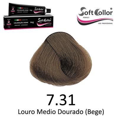 Coloracao Profissional SOFTCOLLOR PERFECT 60g - Cores: Louro Médio - Nuance 7.31 Louro Medio Dourado Bege