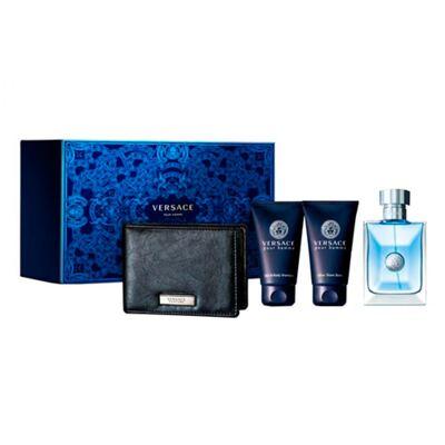 Versace Pour Homme Versace - Masculino - Eau de Toilette - Perfume + Loção Pós Barba + Gel de Banho + Carteira Preta - Kit