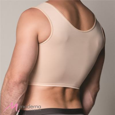 Imagem 3 do produto Corpete Masculino Curto com Abertura Frontal Ref 3306 Cinta Moderna - Corpete Masculino Curto Ref 3306 Moderna Bege GG