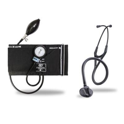 Kit Esteto Littmann Master Cardiology Preto Smoke Finish com Aparelho de Pressão Bic Preto - Kit Esteto Littmann Master Cardiology Preto com Aparelho de Pressão Bic Preto
