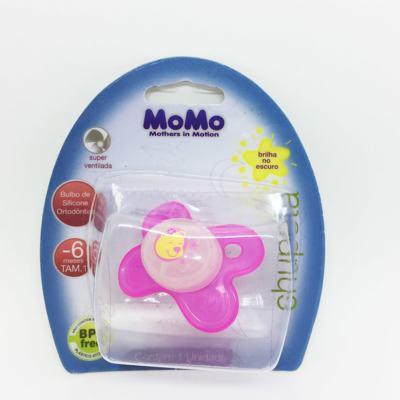 Chupeta Momo Brilha no Escuro Silicone Ortodôntico Rosa 0 - 6 meses Tam 1