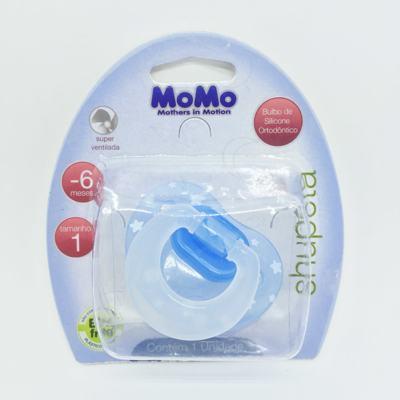 Imagem 1 do produto Chupeta Momo Silicone Ortodôntico Azul 0 - 6 meses Tam 1