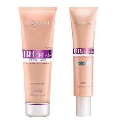 Imagem 1 do produto BB Cream 5 em 1 SPF20 L'oréal Paris - Base Escura 50ml + Base Média 15ml - Kit