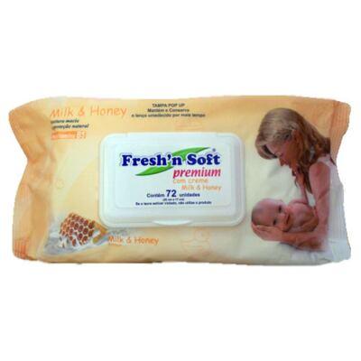 Fresh'N Soft com Creme Milk & Honey Fresh'N Soft - Lenços Umedecidos para a Pele do Bebê - 72 Un
