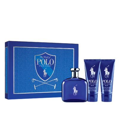 Polo Blue Ralph Lauren - Masculino - Eau de Toilette - Perfume + Pós Barba + Gel de Banho - kit