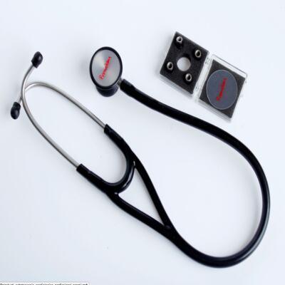 Imagem 1 do produto Kit Esteto Cardiológico Preto com Aparelho de Pressão Vermelho Premium