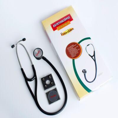 Imagem 2 do produto Kit Esteto Cardiológico Preto com Aparelho de Pressão Vermelho Premium