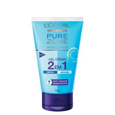 Imagem 1 do produto Limpador Facial L'Oréal Paris Gel Creme 2 em 1 Pure Zone Dermo Expertise - 100g