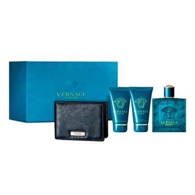 Imagem 1 do produto Versace Eros Versace - Masculino - Eau de Toilette - Perfume  + Loção Pós Barba + Gel de Banho + Carteira Preta - Kit