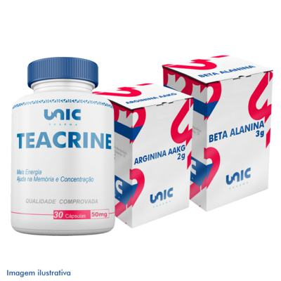 Kit Pré Treino Com Beta Alanina + Arginina AAKG + Teacrine