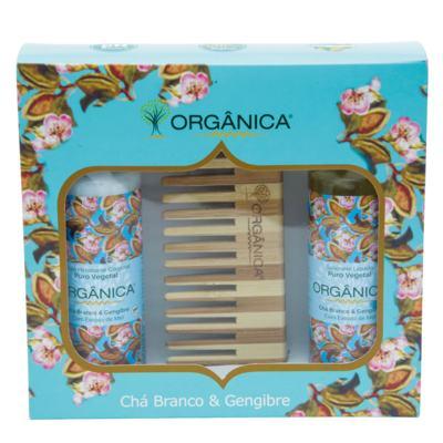 Imagem 2 do produto Chá Branco & Gengibre Orgânica - Kit Loção Hidratante 100ml + Sabonete Líquido 100ml + Pente - Kit