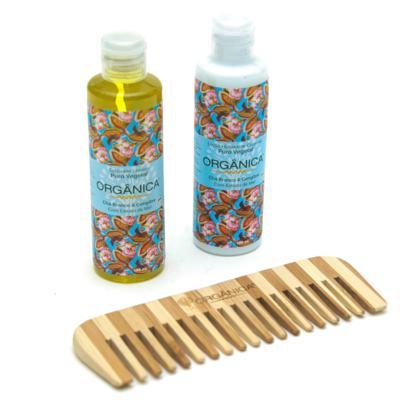 Imagem 5 do produto Chá Branco & Gengibre Orgânica - Kit Loção Hidratante 100ml + Sabonete Líquido 100ml + Pente - Kit