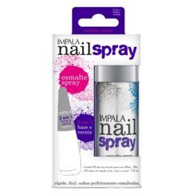 Esmalte Spray Nail Spray 370 Prata + 2 em 1 Base e Verniz Impala - Kit
