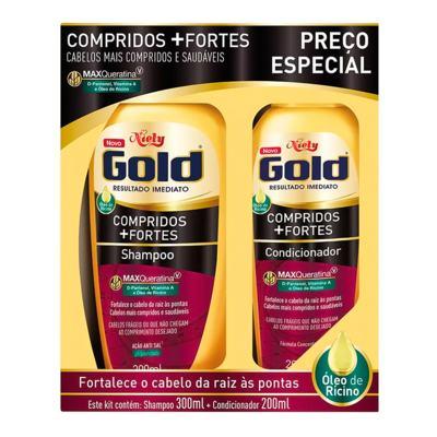 Kit Niely Gold Shampoo + Condicionador - Compridos + Fortes   2 unidades