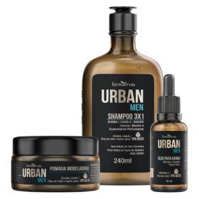 Kit Urban Men - IPA Beer shampoo   240mL   + óleo de barba, 30mL + pomada modeladora, 50g + grátis necessaire