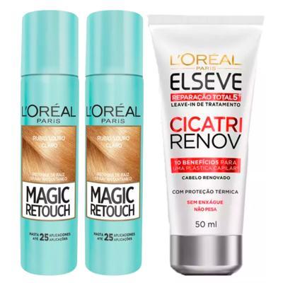 Imagem 1 do produto L'Oréal Paris Magic Retouch + Ganhe Cicatri Renov Kit - Leave-In + 2 Corretivos Capilar Louro Claro - Kit