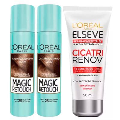 Imagem 1 do produto L'Oréal Paris Magic Retouch + Ganhe Cicatri Renov Kit - Leave-In + 2 Corretivos Capilar Castanho Claro - Kit