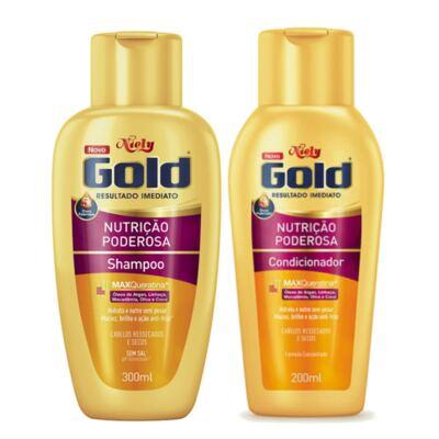 Imagem 1 do produto Kit Niely Gold Nutrição Poderosa Shampoo Sem Sal 300ml + Condicionador 200ml
