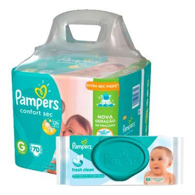 Imagem 1 do produto Kit Pampers Fralda Descartável Confort Sec G 70 Unidades + Lenços Umedecidos Fresh Clean 48 Unidades
