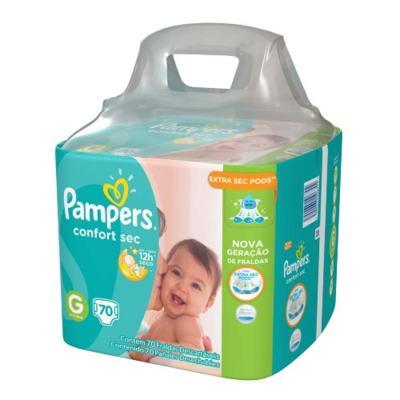 Imagem 2 do produto Kit Pampers Fralda Descartável Confort Sec G 70 Unidades + Lenços Umedecidos Fresh Clean 48 Unidades