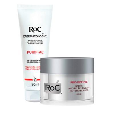 Imagem 1 do produto Kit Roc Pro-Define Creme 50ml + Gel de Limpeza Facial Purif-Ac 80g
