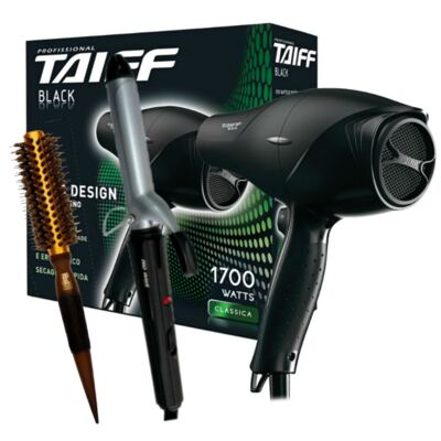 Imagem 1 do produto Kit Secador Taiff Black 1700W 110V + Modelador Lizz Wave Bivolt + Escova Térmica Marco Boni