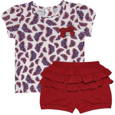 Imagem 1 do produto Blusinha c/ Shorts frufru para bebe em viscolycra Butterflies - Baby Classic - 21001628 BLUSINHA M/C COM SHORTS VISCOLYCRA BUTTERFLY-G
