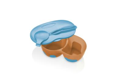 Imagem 2 do produto Prato Fundo com Divisória E Colher Funny Meal Azul Multikids Baby - BB053
