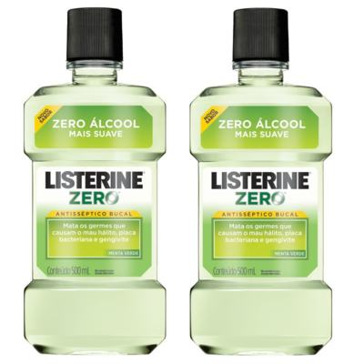 Imagem 1 do produto Antisséptico Bucal Listerine Zero Menta Verde 500ml 2 Unidades